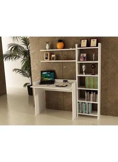 Sanal Mobilya Sirius Kitaplıklı 2 Raflı Çalışma Masası 90-7-4B Beyaz